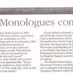 The Vagina Monologues. Cyprus Mail. October 2010